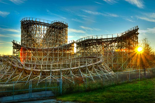 sunset abandoned fun paul ride mo missouri roller rollercoaster coaster branson hdr newton lensflair celebrationcity