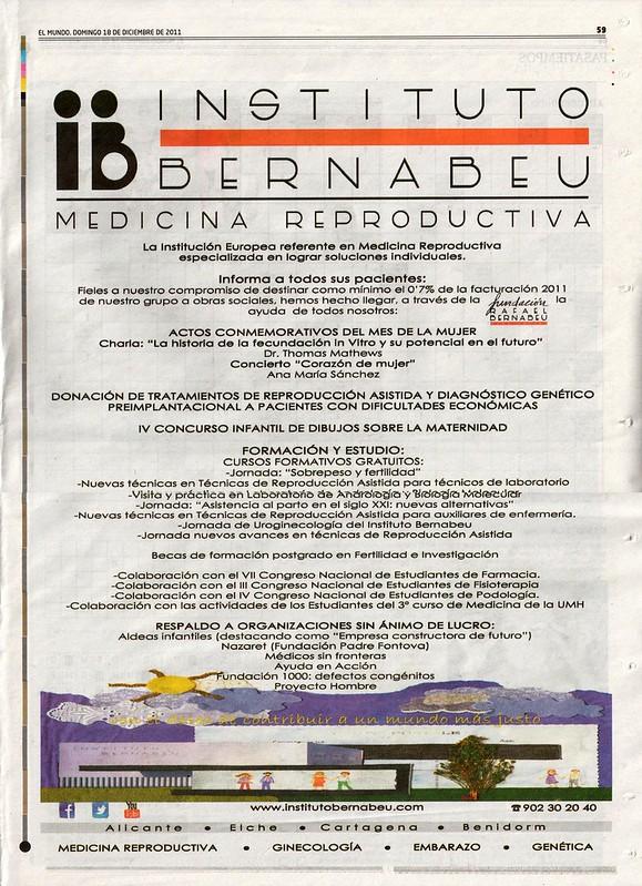 Resumen anual de la Fundación Rafael Bernabeu, OBRA SOCIAL. 2011