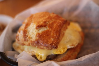 Basic Biscuit Plus sandwich with fried egg, cheddar and sausage | by erin.kkr