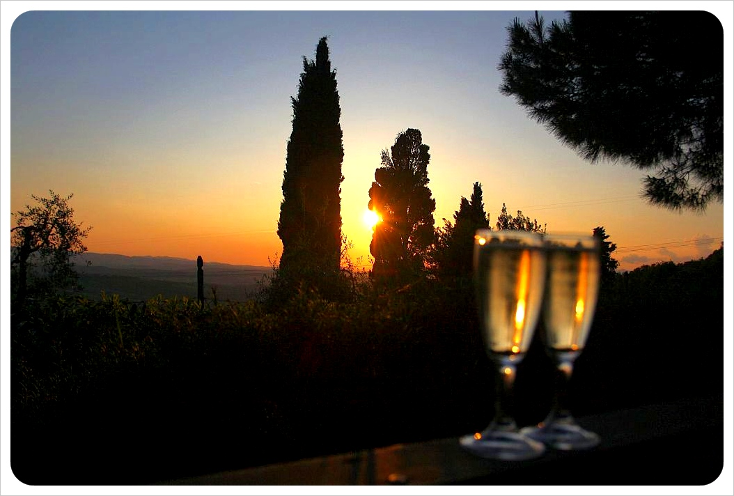 sunset with champagne
