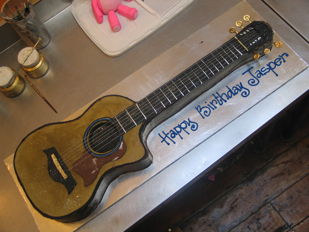 Stupendous 3D Acoustic Guitar Shaped Wicked Chocolate Cake Charlys Bakery Funny Birthday Cards Online Barepcheapnameinfo