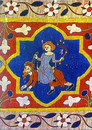 Freiburg Augustinermuseum - Malterer-Teppich (1310-20) Phyllis riding Aristotle