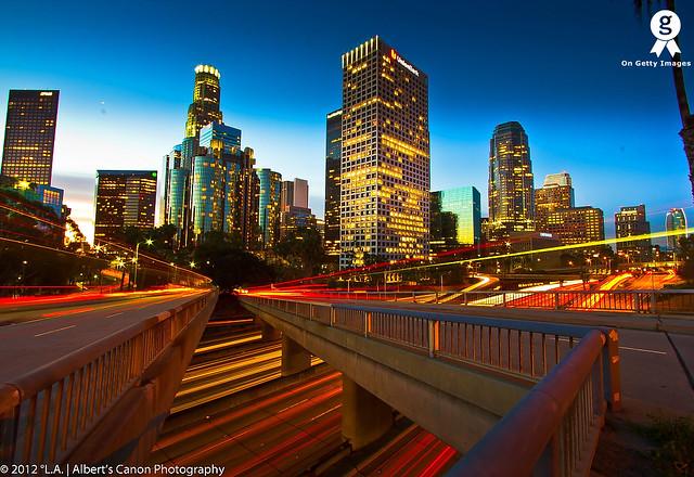 Los Angeles, war of traffic lights trails! [Explored FP 1.06.12]