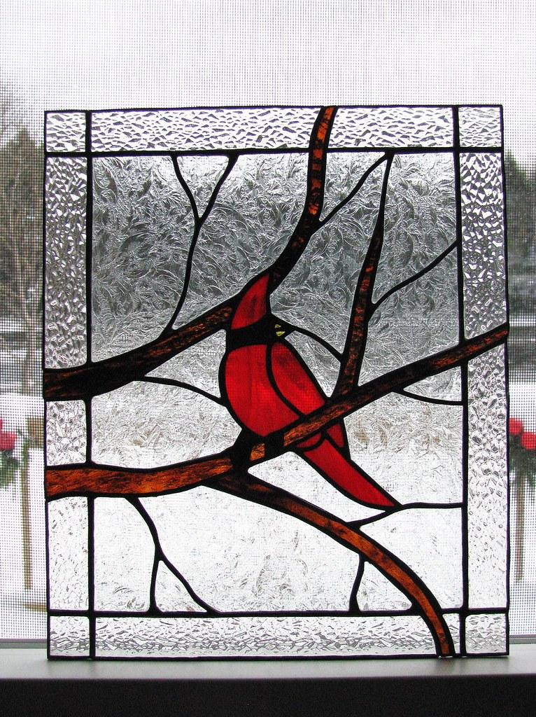 Stained Glass Cardinal Door Panel Custom Sold Nancy