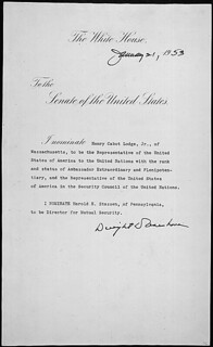 Message of President Dwight D. Eisenhower nominating Henry Cabot Lodge of Massachusetts to be the Representative of the United States of America to the United Nations, 01/21/1953