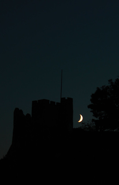 Lewes Castle at night.