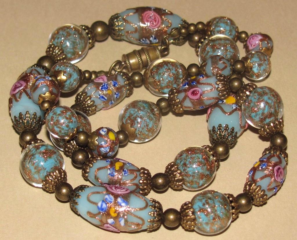 Antique Venetian Murano Wedding Cake Glass Bead Necklace Flickr