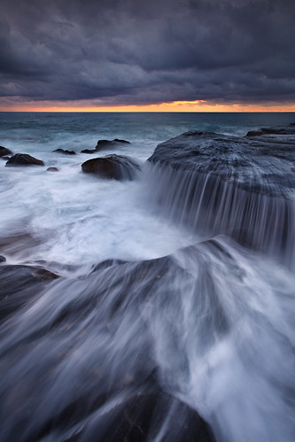 cascade clouds flow ocean rocks seascape sunrise water waves whalebeach newsouthwales nsw australia northernbeaches fh ig