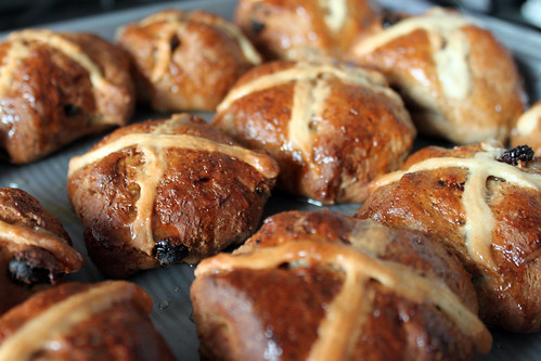 Golden Hot Cross Buns straight from the oven | by Coffee Muffins