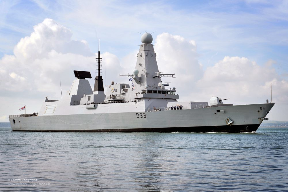 Type 45 Destroyer HMS Dauntless Entering Portsmouth