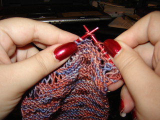 Working on the Drop Stitch Scarf | by ShadowWolf13