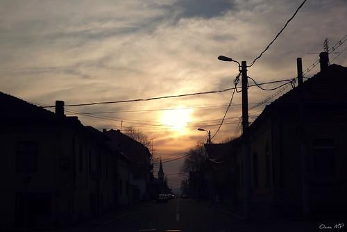 street city sunset sky sun evening romania