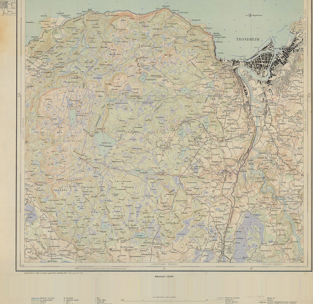 Kart Over Trondheim Og Omegn 1936 Format Kart Dato Da Flickr