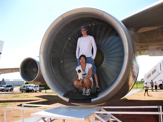 Sam and Sze Sze in a 747 engine cowling | by samh004