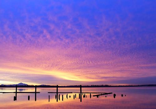 winter colour reflection clouds sunrise bc richmond fraserriver mtbaker