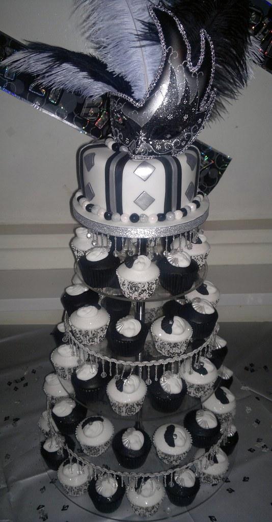 Cupcakes Black White And Silver Masquerade 21st Birthday Cake