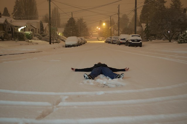 Laying in the middle of the road