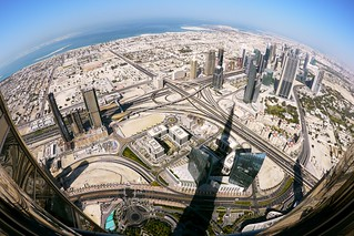 The NW view of Dubai from the Burj Khalifa   by xopherlance
