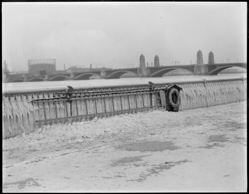 Ice-covered railings, Esplanade, showing Longfellow Bridge
