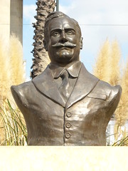 Enrico Caruso's bronze bust, near his birth-house in Naples by Carlo Raso
