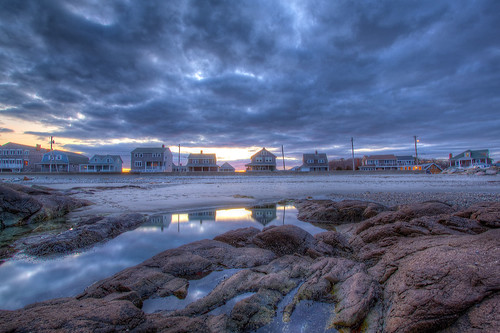 sunset house reflection beach clouds dramatic scituate minots
