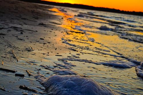 sunset orange beach water waves bubbles 1855mm adobelightroom nikond90