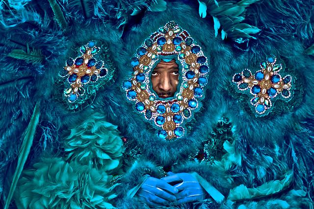 Sea of Blue Feathers. Super Sunday 2014, Mardi Gras Indians.