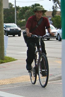 Biker with green hat
