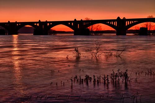 york sunrise pennsylvania columbia pa hdr susquehannariver columbiawrightsvillebridge