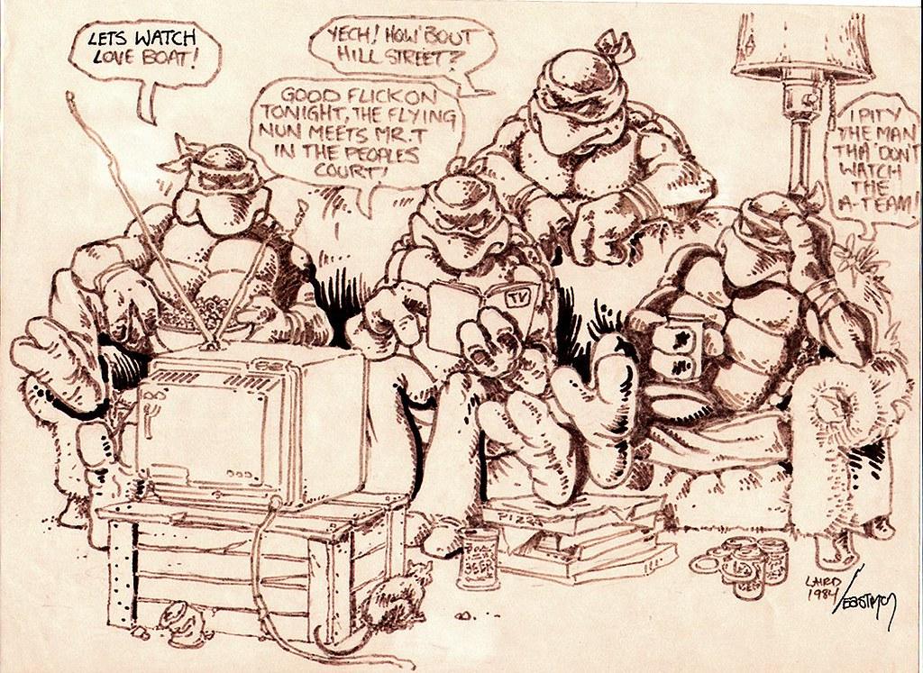"Teenage Mutant Ninja Turtles v.1 :: "" T.V. Night "".. PIN-UP art by Eastman & Laird (( 1984 )) [[ Via ROMITAMAN Original Art ]] by tOkKa"