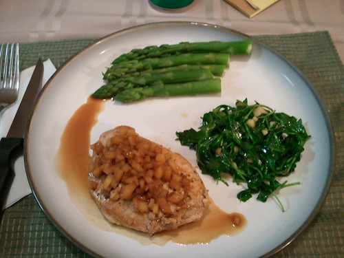Balsamic citrus glazed pork chop, wilted arugula salad, and asparagus | by magurski