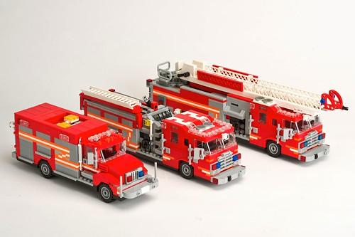 Group Shot of My Lego Fire Trucks