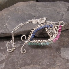 Ruby, Sapphire, and Emerald Fish Pendant Necklace N229