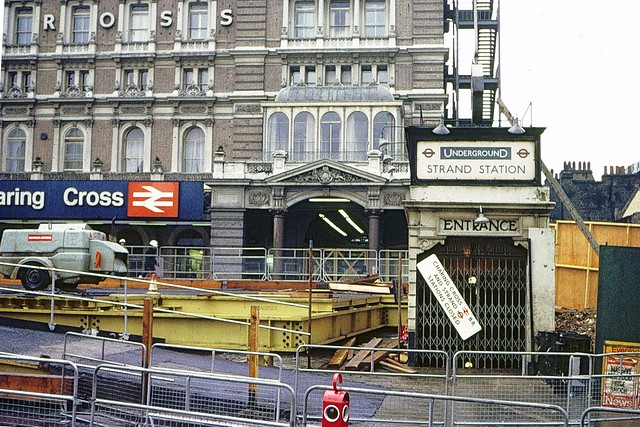 Entrance to Strand Underground station in 1973