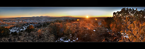 winter sunset panorama newmexico santafe lacieneguilla