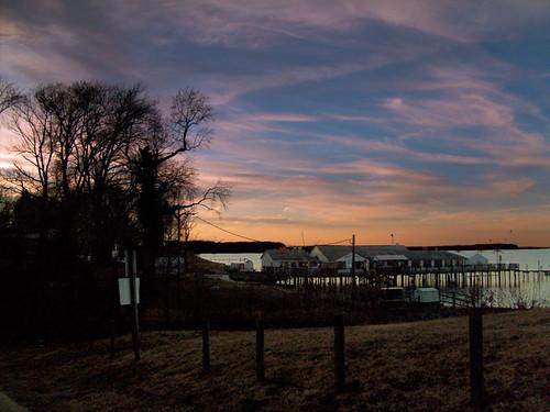 winter sunset sky beautiful clouds landscape pier view potomac potomacriver kinggeorgecounty
