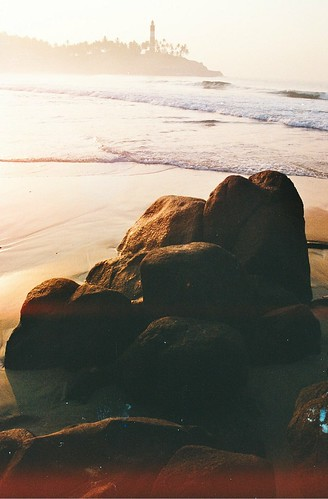 ocean travel lighthouse india film beach sunrise olympus om10 kovalam
