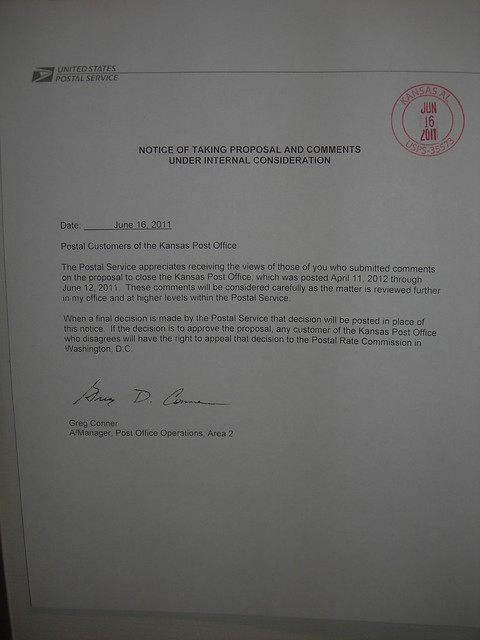 Notice of Postal Review
