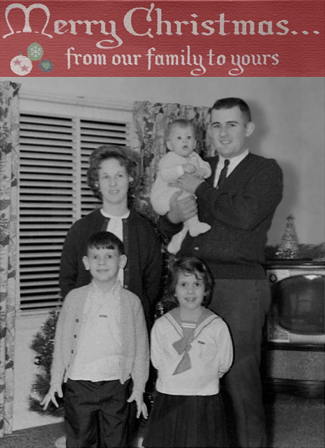 Family Christmas Picture Postcard - Faux Postcard