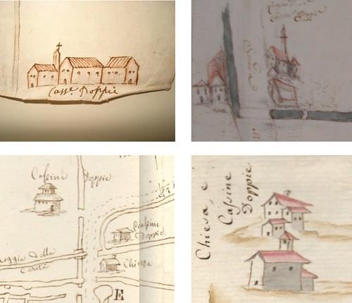 Particolari riferiti alla rappresentazione di Cascine Doppie in alcuni disegni sei e settecenteschi.   by L'Officina dello storico
