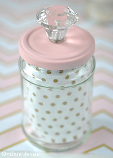Upcycled jar with crystal knob | by toriejayne