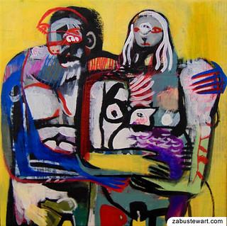 "Zabu Stewart - ""Nudist Couple with Rooster"""