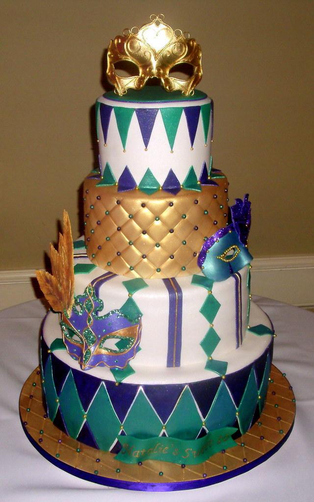 Purple Gold Amp Green Masquerade Sweet 16 Cake Gum Paste