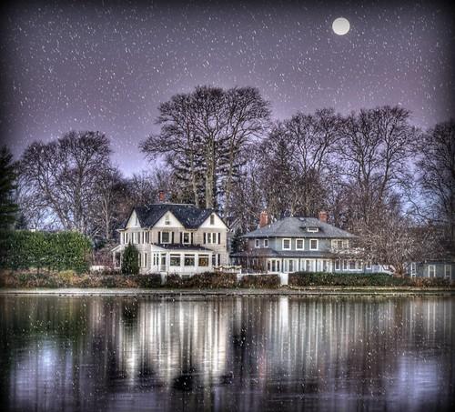christmas morning winter moon holiday snow reflection night season landscape nikon december purple seasonal fullmoon effect babylon hdr moonshine argylelake babylonvillage nikond90 babylonandbeyond