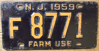 NEW JERSEY 1959 ---FARM USE LICENSE PLATE
