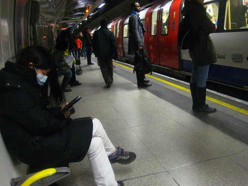 Flu mask on the London Underground | by Annie Mole
