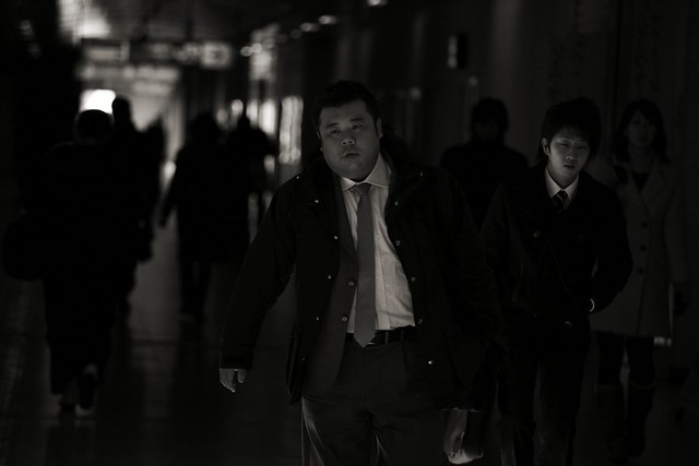 Man supposedly on his way to work at Ueno station