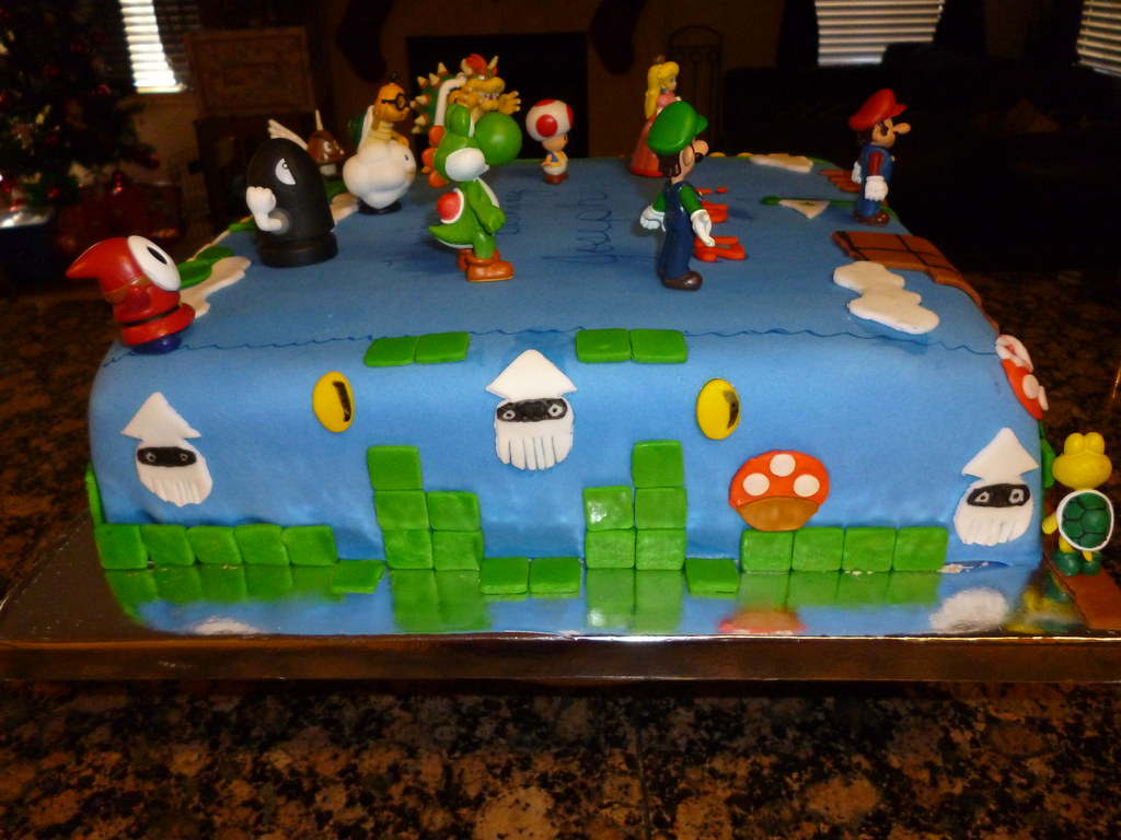 Wondrous Super Mario Bros Birthday Cake Super Mario Bros Birthday C Flickr Personalised Birthday Cards Akebfashionlily Jamesorg
