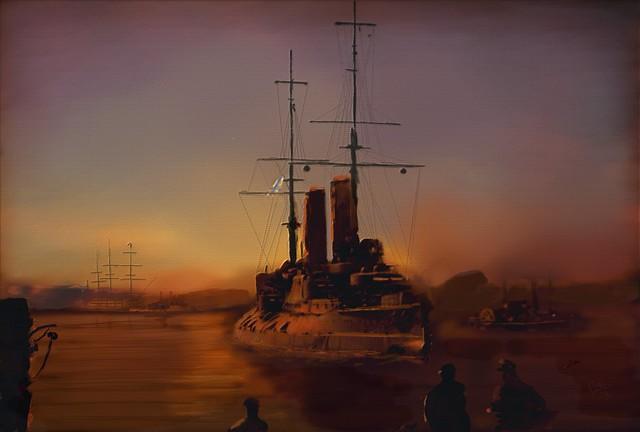 The Russian battleship Tsesarevich