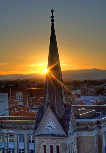 sunset sky sun church downtown steeple roanoke terry burst hdr aldhizer terryaldhizercom